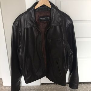 High quality men's brown leather jacket